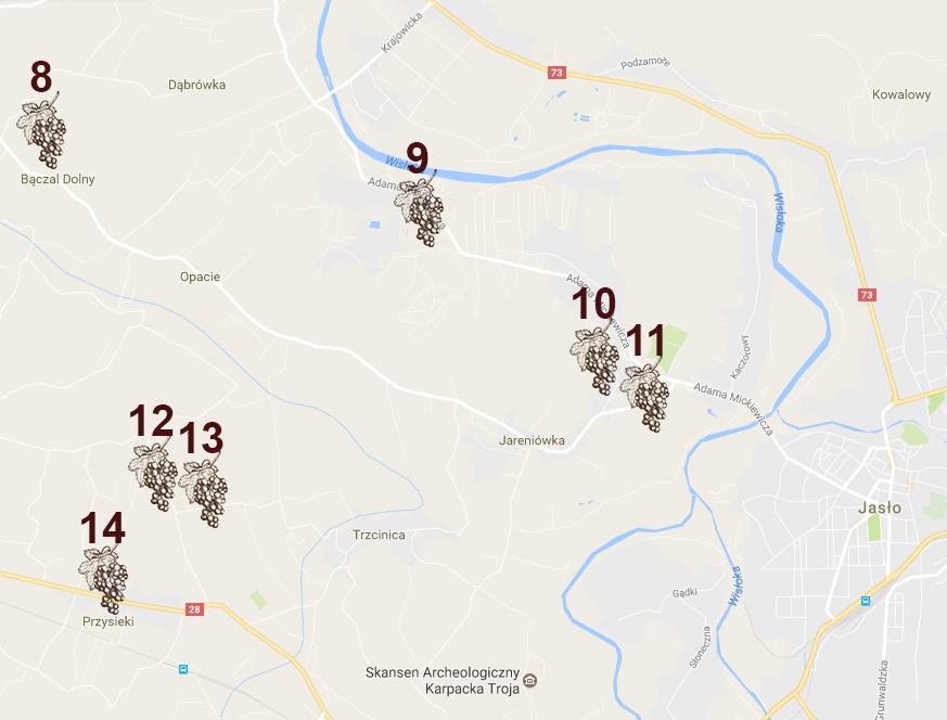 mapa szlaku winnego Jasło
